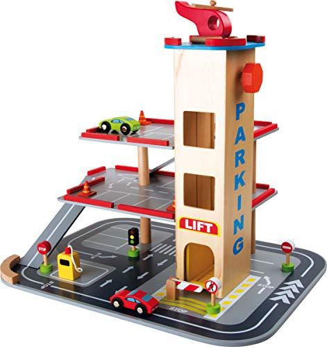"""'Aparcamiento """"Abfahrt ultrarrápidas, Park Garaje de madera con 3pisos, Ascensor y helipuerto en el tejado, Juguete (Madera, incluye accesorios de madera (coches, tráfico carteles etc.), a partir de 3años"""