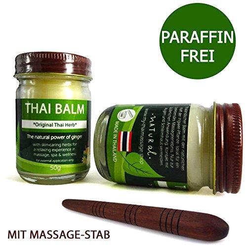 50g MyThaiMassage Thai Baume d'herbe * Thai Herb Originale * pour massage - Le pouvoir concentrée des herbes thaïlandaises comme produit cosmétique - Fabriqué en Thailand - Sans paraffines