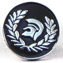 Broche de metal, esmaltado, diseño de casco troyano, color negro