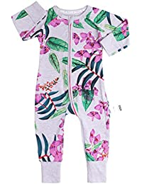 0c5ac8976fcb Baby Girls Rompers Pajamas Cotton Onesies Jumpsuit Toddler Zipper Outfits,  18-24 Months