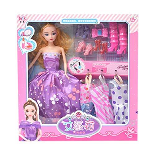 Kongqiabona Fashion Outfit gemischten Stil mit schöner Kleidung am besten gekleidet schillernden Look Puppe Set für Mädchen Geschenk Spielzeug (Am Besten Gekleidet Kostüm)