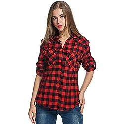 Zeagoo - Camisas - para Mujer Rojo Rosso XX-Large