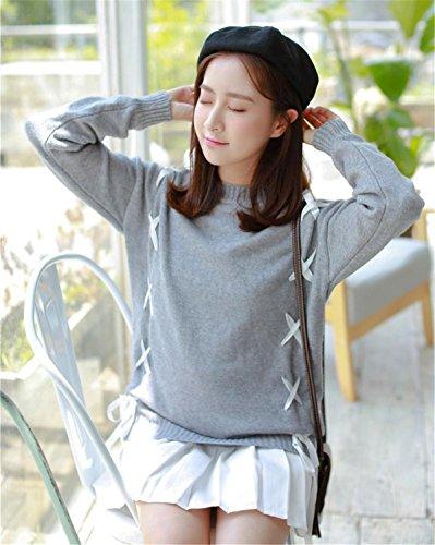 JOTHIN Manica lunga Girocollo Maglioni Eleganti Irregolare Pullover larghi Tinta Unita Maglione Invernali Basic Sweater Donna Grigio
