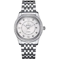 BINLUN Mens Stainless Steel Luminous Luxury Automatic Mechanical Analogue Watch with Date,Diamond Bezel Bracelet Watches for Men
