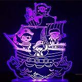 7 Couleurs Changement De Bateau Pirate Modélisation Led Veilleuse 3D Lampe De Table Visuelle Enfants Chambre À Coucher Sommeil Cartoon Luminaire Décor Décor