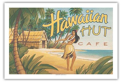 Pacifica Island Art - Hawaiianisches Hütten Café - Hawaiianische Hula-Tänzerin - Retro Hawaii Reise Plakat von Kerne Erickson - Giclée Kunstdruck 61 x 91 cm