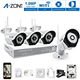 A-ZONE 4 Canales Kit Videovigilancia CCTV 960P NVR 4x 1.0MP IP Cámara de Seguridad Wifi Exterior con Disco Duro de 2TB