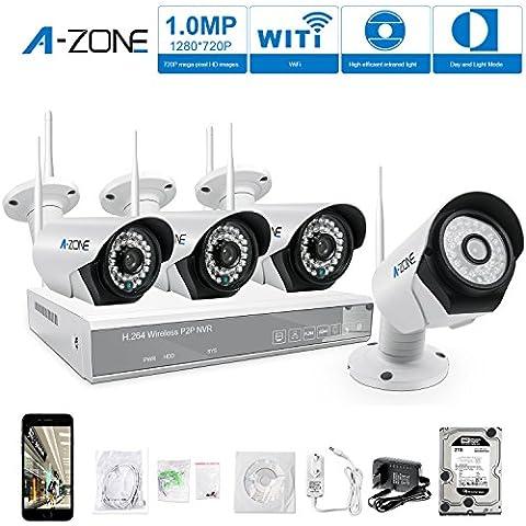 A-ZONE 4 Canales Kit Videovigilancia CCTV 960P NVR 4x 1.0MP IP Cámara de Seguridad Wifi Exterior con Disco Duro de