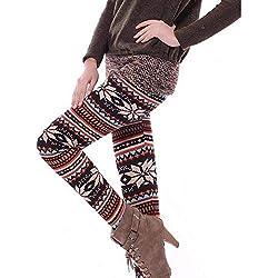 QSHUMIA Leggings Mujer Leggins De Invierno Mujeres Polainas con Forro De Navidad Tribal Snowflake Pattern Thicken Winter Legging Pantalones De Mujer