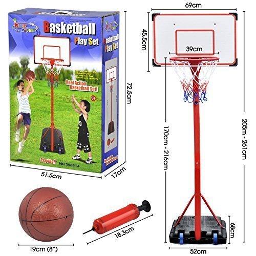 Beyondfashion Tragbar Kinder Basketball Ständer Rückwand Korb Netz Set Verstellbar + Reifen Junge Kinder (1.7m-2.16m) (Verstellbare Basketball-netz)