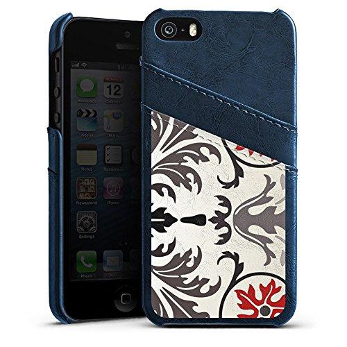 Apple iPhone 4 Housse Étui Silicone Coque Protection Motif Motif Abstrait Étui en cuir bleu marine