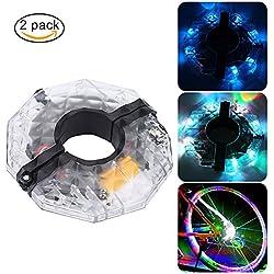 LED Luces para Rueda de Bicicletas Impermeables-4 colores USB Recargable Luces de Bicicleta Ultra Brillante con 3 modos(2 piezas)
