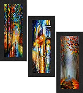 SAF Set of 3 Couple Watercolor Modern Art UV Coated Home Decorative Gift Item Framed Painting 17 inch X 24 inch SAFLP10