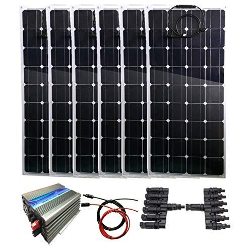 Contenido del paquete: * Panel solar flexible de 6 x 100 W. * 1 inversor de corbata de 1000 W. * 1 x Total 5 metros rojo y negro cable solar con conectores MC4 * 6 en 1 conectores MC4. * Panel solar flexible de 100 W (36 células). Especificaciones: P...
