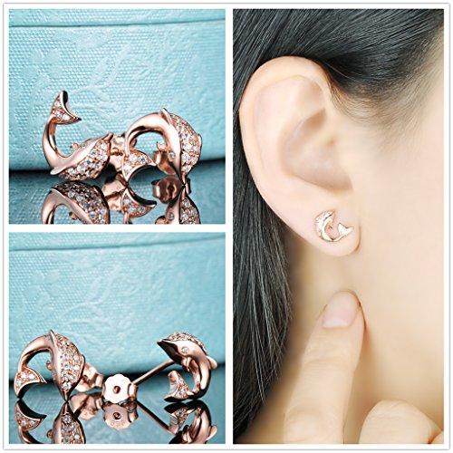 Yumilok Roségold 925 Sterling Silber Zirkonia Delfin Ohrstecker Halskette Schmuck Set Ohrringe Kette mit Anhänger Set für Damen Mädchen - 3