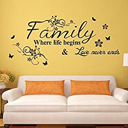 Amaonm Removable Vinyl Quotes Family Where Life Begins Love Never Ends Nursery Flower Vine Butterfly Home Art Decor Wall Stickers Murals Decals Peel Stick for Kids Room Bedroom