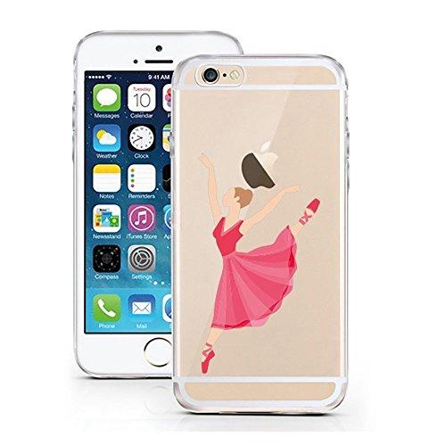 Blitz® PUSHER 2 motifs housse de protection transparent TPE iPhone café M14 iPhone 7PLUS Ballerine rose rouge M3