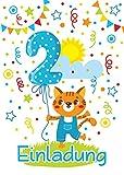 12 Einladungskarten 2. Kindergeburtstag Mädchen Junge Katze Tiere zweite Geburtstag Geburtstagseinladungen Einladungen Geburtstags-Party Kartenset