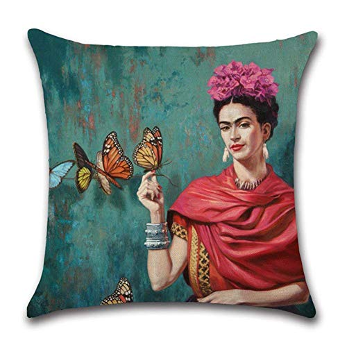 rongxincailiaoke Fundas para Almohada Oil Painting Frida Kahlo Self-Portrait Throw Pillow Covers Decorative Cotton Linen Square Cushion Cover Sofa Home Pillow Covers 18x18 Inch