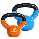#DoYourFitness 2er-Set Kettlebell »Kolossos« Kugelhantel bis zu 30kg Gesamtgewicht/Handgewicht 100% Eisen mit Vinyloberfläche/High Performance Studio-Qualität 8kg (hellblau) und 3kg (orange)