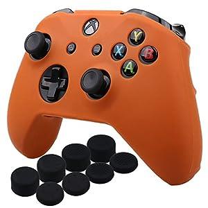 YoRHa Silikon Hülle Abdeckungs Haut Kasten für Microsoft Xbox One X & Xbox One S Controller x 1 (Orange) Mit Pro aufsätze Thumb Grips x 8