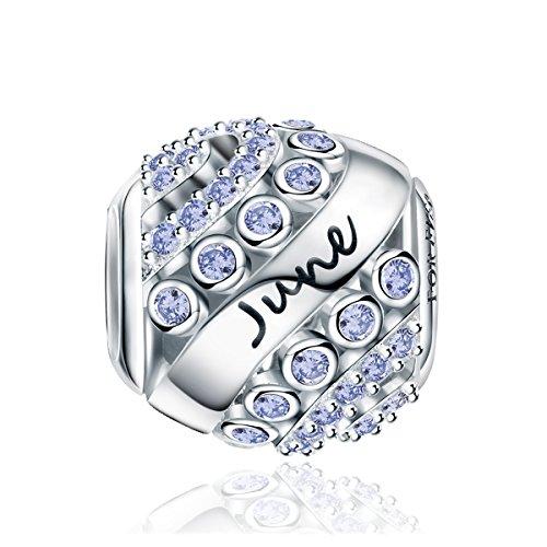 FOREVER QUEEN Juni Geburtsstein Charm Bead für Damen 925 Sterling Silber, zum Geburtstag 12 Farben Jan - Dez Anhänger für Armband und Halskette FQ0004-6