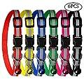 Kuou 6Stück Cat Kragen, Verstellbare Hundeleine Halsband Reflektierende Schlaufe Sicherheit Quick Release Schnalle mit Glocke