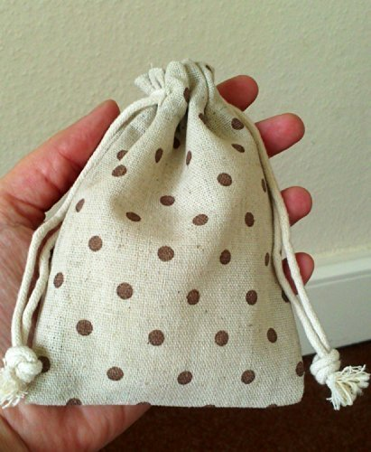 pack-of-5-x-small-natural-ecru-linen-drawstring-bags-with-chestnut-polka-dots-10cm-x-13cm