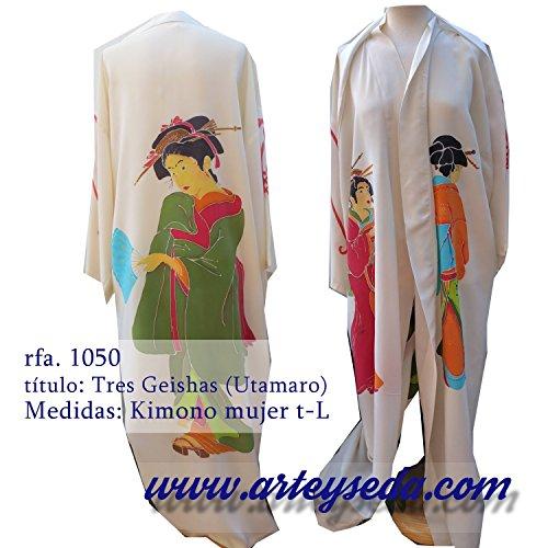 Kimono de seda pintado a mano