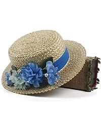 Top Plano Floral De Paja W Flor De Marfil Flor Basic De Paja De Marinero Sombrero