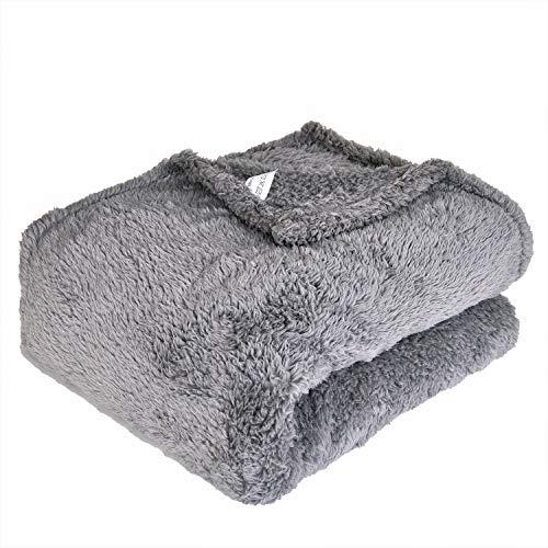 Ehc polar super soffice coperta plaid in pile termico divano, grigio, singolo, 130x 210cm