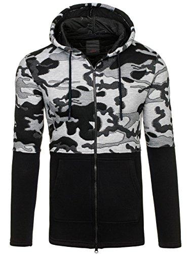 BOLF Herren Kapuzenpullover Sweatjacke Sweatshirt Camo Military Hoodie 1A1 Schwarz