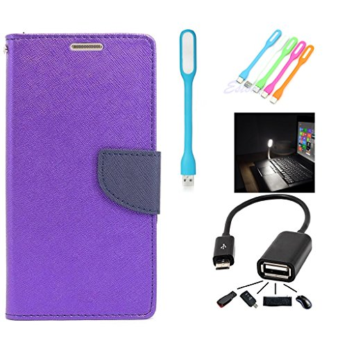 Samsung Galaxy Trend S7392 Mercury Flip Wallet Diary Card Case Cover (Purple+OTG+LED LIGHT) By Mobile Life  available at amazon for Rs.209