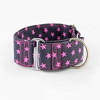 Galguita Amelie, 5cm Ancho Talla M (30cm - 39cm), Collar para Perro Antiescape. Estrellas Rosas.