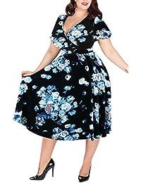 043aa646edf Nemidor Women s V-Neckline Stretchy Casual Midi Plus Size Vintage Dress