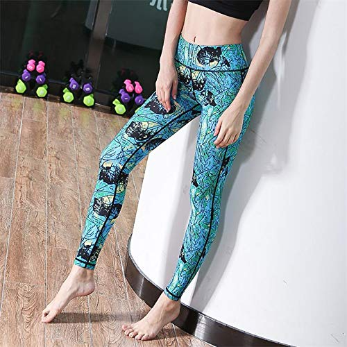 YJKJSK Neue hohe Taille Stretched Sporthosen Gym Kleidung Spandex Laufhose Frauen Sport Leggings Fitness Yoga Hosen S Floral blau (Floral Spandex-leggings)