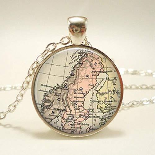 Yoin New Globe Dome Halskette Erde Weltkarte Anhänger Glaskette Schmuck Japanisches Reich Vintage Karte Handgemachte Halskette, 8