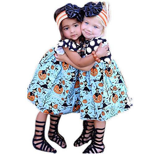 SEWORLD Baby Halloween Kleidung,Niedlich Kleinkind Kinder Baby Mädchen Halloween Kürbis Cartoon Prinzessin Kleid Outfits Kleidung(Blau,5 Jahren)