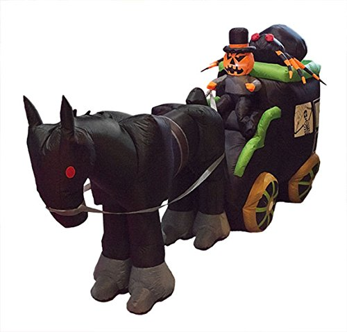 Confettery - Halloween Dekoration aufblasbare Deko Kürbis Geist- Riesen Spinne- Kutsche mit Pferd Party, 1 Stück, 250cm, Mehrfarbig (Aufblasbare Halloween Spinne)