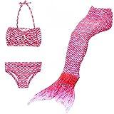 3PCS Ragazze' Sirena Principessa Coda Bikini Costume da bagno per Nuotare e Partito (pink, 150)