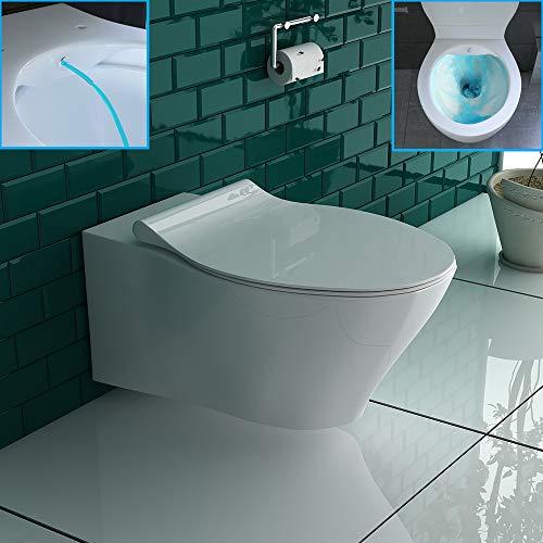 Wand Dusch-WC Spülrandlos Weiß Keramik Toilette + WC-Sitz Hänge-WC Bidet leise Absenkung Softclose WC-Set Taharet| Keramikschüssel passend zu GEBERIT -