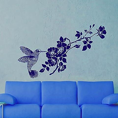 Adhesivo diseño de flores de diseño de pájaros y rama vinilo adhesivo diseño con texto en inglés adhesivo decorativo árbol de hardware murales MN585