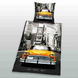 Parure linge de lit Housse de couette 155 cm x 220 cm + 1 Taie d oreiller 80 cm x 80 cm New York Taxi