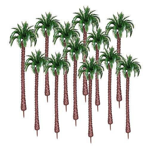 Gobesty Kunststoff Kokosnuss Palme, 12 Stücke Mini Bäume Künstliche Miniatur-Kokospalmen Miniatur Bäume Modell Bäume Kuchen Dekorationen für Mini Landschaft Landschaftsgestaltung