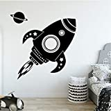 Diy Rocket Family Stickers Muraux Murale Art Décor À La Maison Pour La Chambre Des Enfants Home Party Decor Papier Peint jaune XL 58 cm X 59 cm