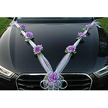 Autoschmuck Organza M Auto Gioielli Sposa Coppia Rose Decorazione Organza M Matrimonio Car Wedding Decorazione (Lilla/Bianco)