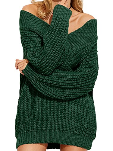 Simplee Apparel Damen Sweater Sexy Langarm Schulterfrei V-Ausschnitt Strick Pullover Oversize Sweater Kleid Grün