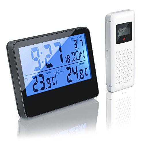 CSL - Funk Wetterstation mit Außensensor | Funkuhr / sekundengenaue Uhrzeit durch DCF-Signal | LCD-Display / Hintergrundbeleuchtung (via Bewegungsmelder einschaltbar) batteriebetrieben