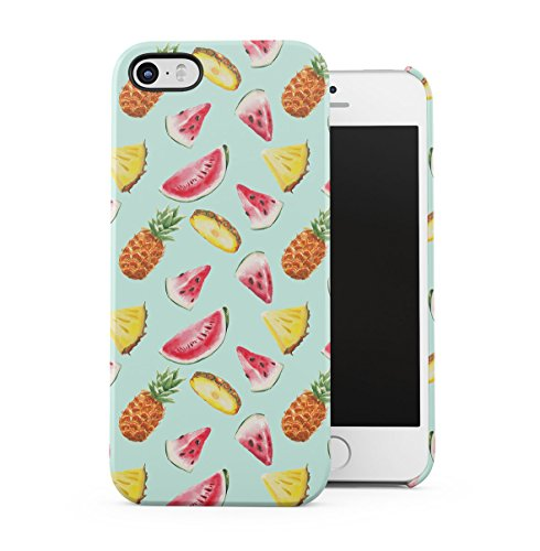 Tropical Exotic Pineapples Ananas Yellow Pattern Apple iPhone 5 , iPhone 5S , iPhone SE Snap-On Hard Plastic Protective Shell Case Cover Custodia Fresh Pineapples