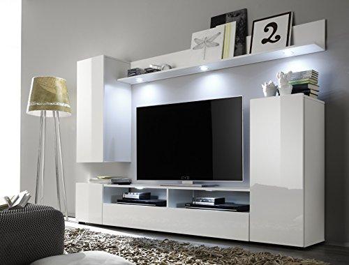 Wohnwand – Weiße Wohnzimmer Anbauwand mit Beleuchtung Bild 2*